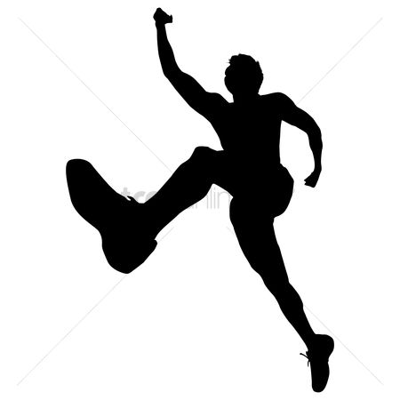 Athletes : Silhouette of a man jumping