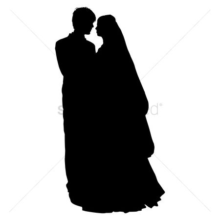 Husband : Silhouette of a wedding couple