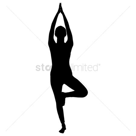 Relaxing : Silhouette of a woman practicing yoga