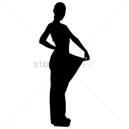 Posing : Silhouette of a woman weight loss