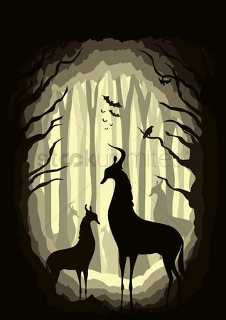 Huge : Silhouette of animals in forest
