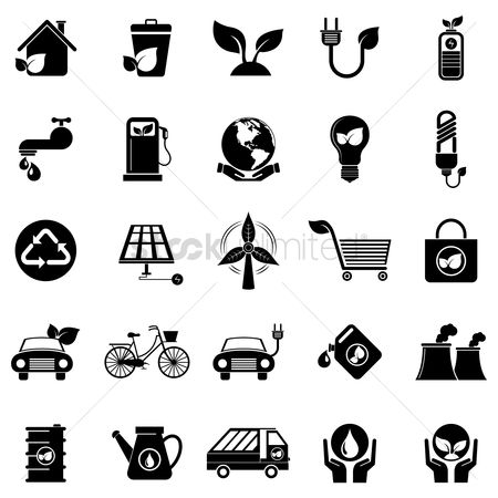 Panels : Silhouette of eco friendly icons set