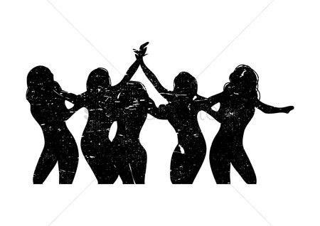 Cheering : Silhouette of five women