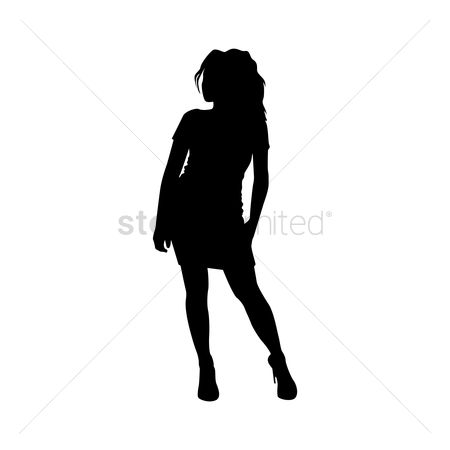 Cutout : Silhouette of girl standing