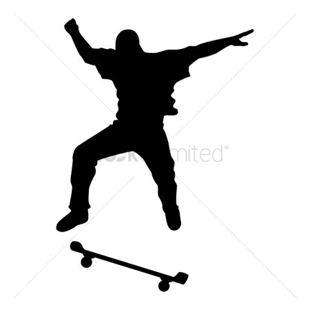 Skateboard : Silhouette of man with skateboard