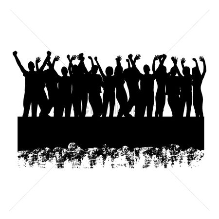 Party : Silhouette of people cheering