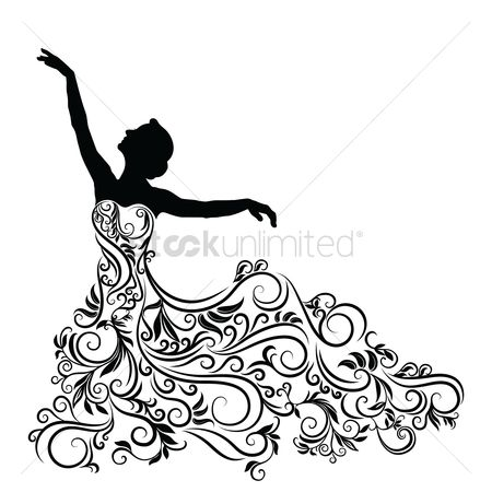 Dresses : Silhouette of woman in an elegent dress