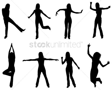 Posing : Silhouettes of people dancing and practising yoga