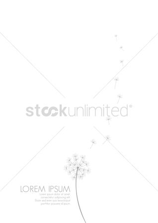 Clean : Simple background with flying dandelion florets
