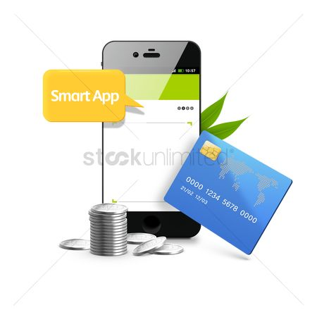 Smart : Smartphone with coins and cash card