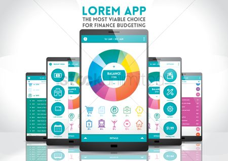 E commerces : Smartphone with finance budgeting