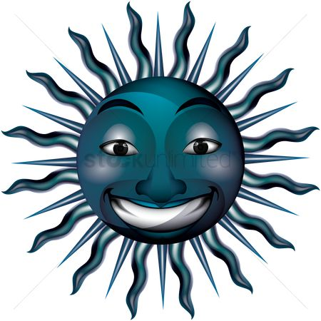 Happy summer : Smiling blue sun