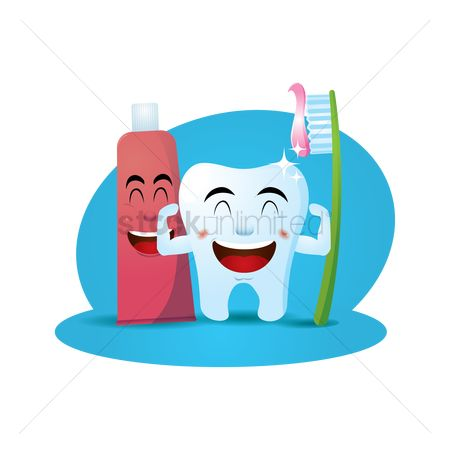 Health cares : Smiling toothpaste and toothbrush with tooth concept