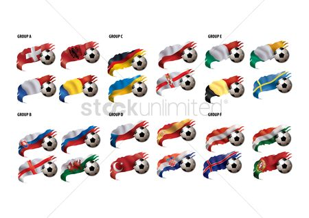 Soccer : Soccer ball with flag icon set
