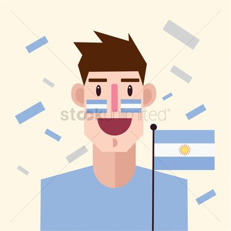 Cheering : Soccer fan with argentina flag