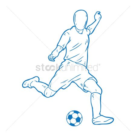 Soccer : Soccer player kicking the ball