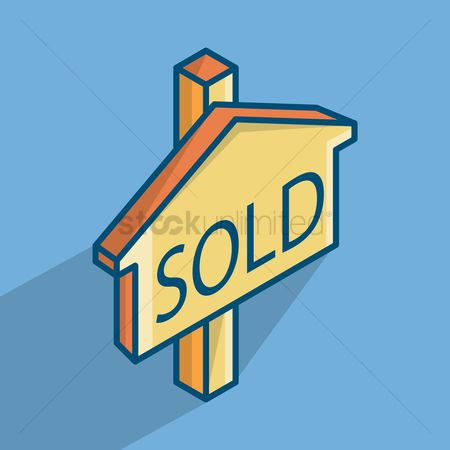 Wooden sign : Sold signboard