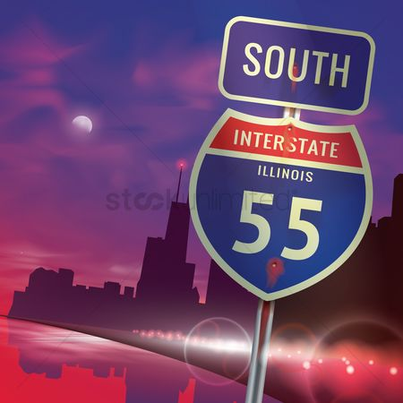 United states : South illinois interstate 55 sign