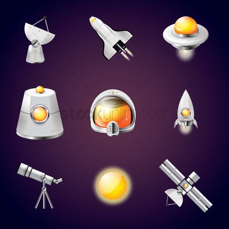Communication : Space icon set