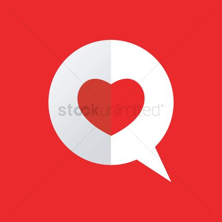 Love speech bubble : Speech bubble with paper heart