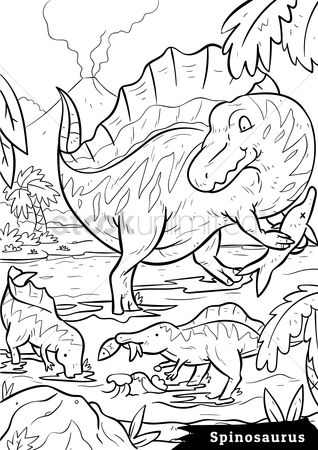 Colorings : Spinosaurus with hatchlings