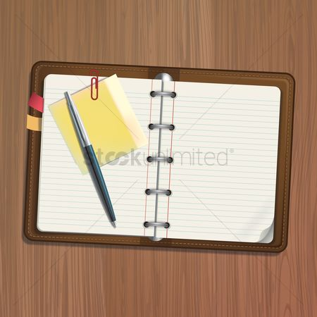 Open : Spiral notepad with pen
