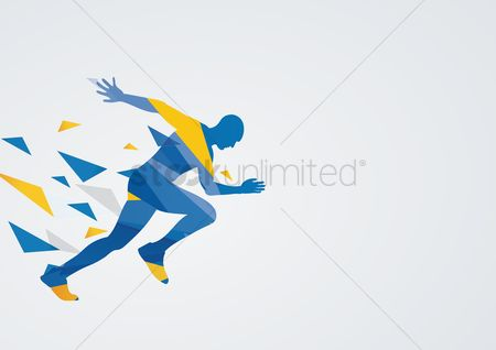 Athletes : Sprinting in action