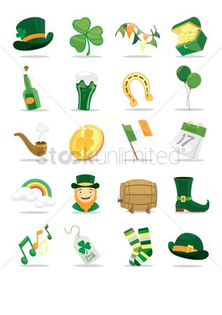 Smoking pipe : St patrick s day icon set