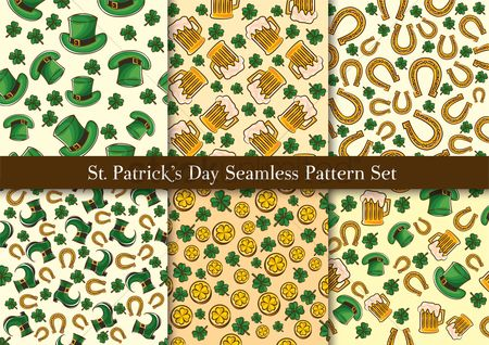 Festival : St patrick s day seamless pattern set
