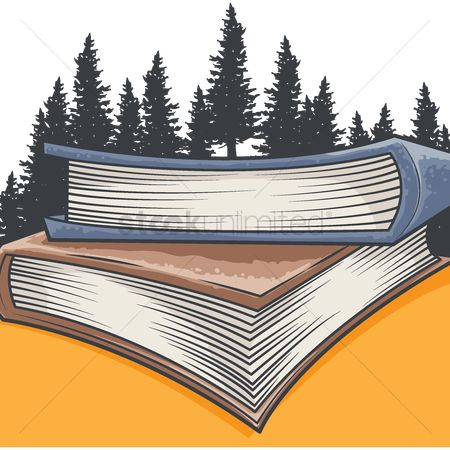 Hardcovers : Stack of books in front of a forest