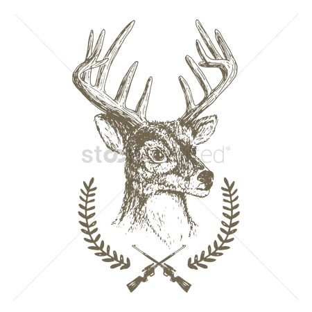 Laurel : Stag head emblem