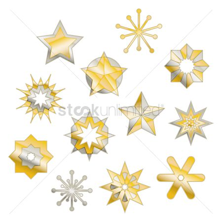 Silver : Star and asterisk designs