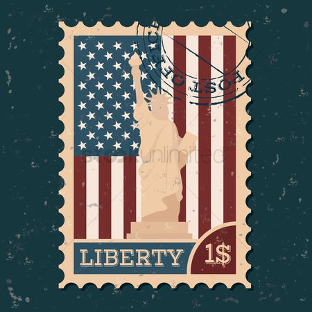 Torch : Statue of liberty postal stamp