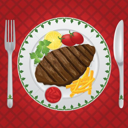 Fork : Steak on a plate