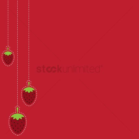 Minimalist : Strawberry fruit with red background