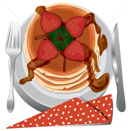 Hotcake : Strawberry pancake in a plate