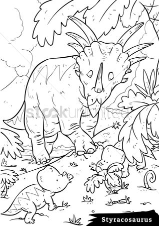 Colorings : Styracosaurus with hatchlings
