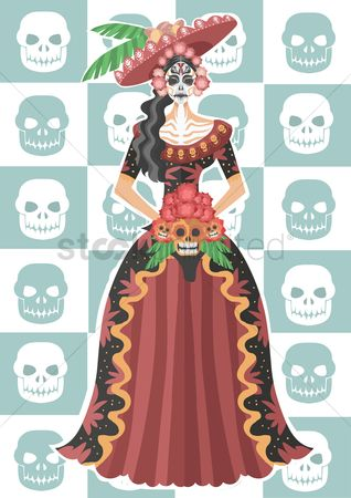 Fashions : Sugar skull girl in long dress