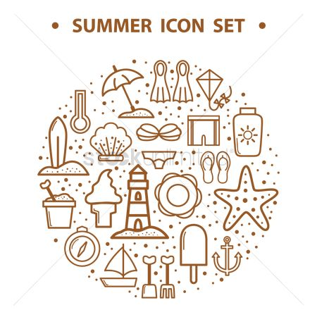 Seashore : Summer icons
