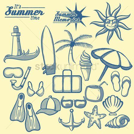 Cream : Summer memories icons