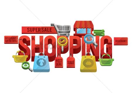 E commerces : Super sale shopping lettering design