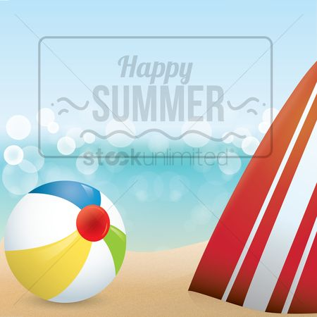 Happy summer : Surfboard and ball on beach