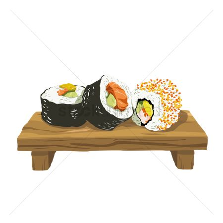 Asia : Sushi rolls on wooden plate
