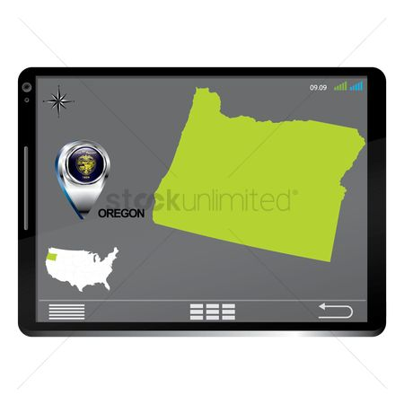 Oregon : Tablet pc with oregon map