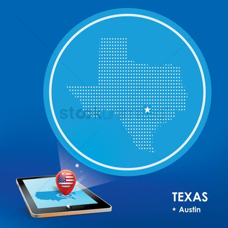 Texas : Tablet pc with texas map projection
