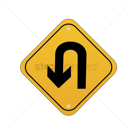Attention : Take u turn road sign