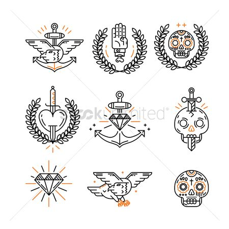 Hawks : Tattoo icon set