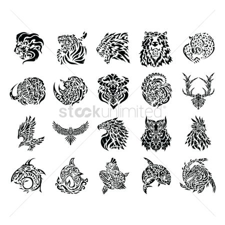 Head : Tattoo icon set