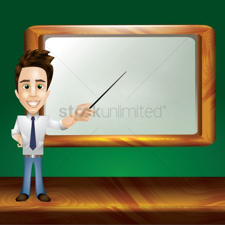 Whiteboard : Teacher pointing at whiteboard