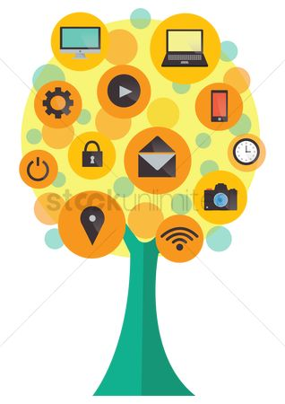 Power button : Technology icons tree